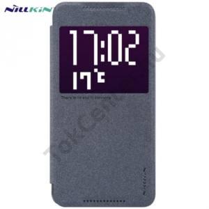 HTC One X9 NILLKIN SPARKLE műanyag telefonvédő (mikroszálas bőr flip, oldalra nyíló, hívószámkijelzés, S-View Cover) FEKETE
