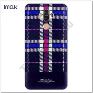 HUAWEI Mate 9 IMAK műanyag telefonvédő (képernyővédő fólia, skót kocka minta) LILA/FEHÉR