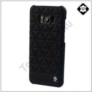 SAMSUNG Galaxy S8 Plus (SM-G955) BMW HEXAGON műanyag telefonvédő (valódi bőrbevonat, háromszög minta) FEKETE