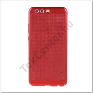 HUAWEI P10 Plus Műanyag telefonvédő (gumírozott, lyukacsos minta) PIROS