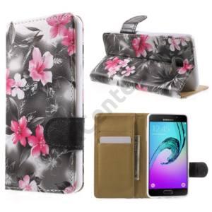 Samsung Galaxy A5 (2016) (SM-A510F) Tok álló, bőr (FLIP, oldalra nyíló, asztali tartó funkció, rózsaszín virágminta) SZÜRKE