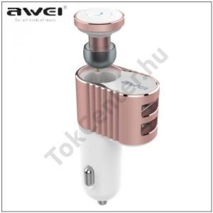 AWEI BLUETOOTH james bond (extra mini, v4.1, szivargyújtó töltő/autós töltő 2 x USB aljzat (5V / 3100mA) ROZÉARANY