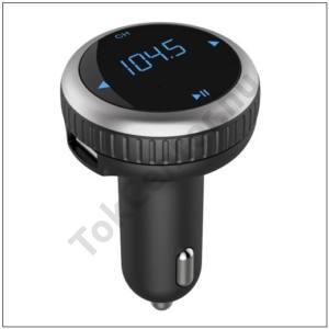 BLUETOOTH hordozható kihangosító (szivargyújtó töltő, 2x USB, 5V/2100 mAh, kijelzős, FM transmitterrel, kábel NÉLKÜL!)