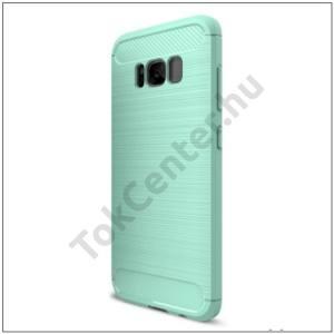 SAMSUNG Galaxy A5 (2017) (SM-A520F) Telefonvédő gumi / szilikon (közepesen ütésálló, szálcsiszolt, karbonminta) CYAN