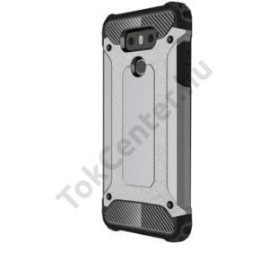 SAMSUNG Galaxy J5 (2016) (SM-J510) Defender műanyag telefonvédő (közepesen ütésálló, gumi / szilikon belső, fémhatás) EZÜST