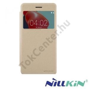 HUAWEI Honor 6X (2016) NILLKIN SPARKLE műanyag telefonvédő (mikroszálas bőr aktív flip, oldalra nyíló, View Window) ARANY