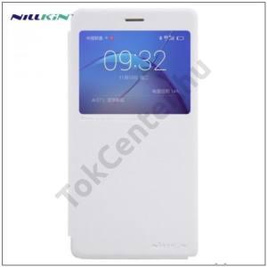 HUAWEI Honor 6X (2016) NILLKIN SPARKLE műanyag telefonvédő (mikroszálas bőr aktív flip, oldalra nyíló, View Window) FEHÉR