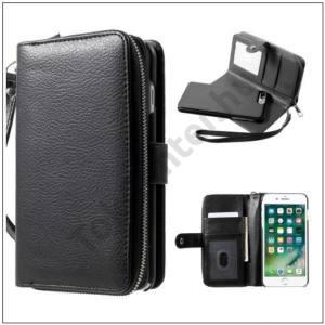APPLE IPhone 7 Plus / iPhone 8 Plus 5.5`` 2in1 tok álló, bőr (FLIP, oldalra nyíló, cipzár, kivehető műanyag telefonvédő, mágneses készülék rögzítés) FEKETE