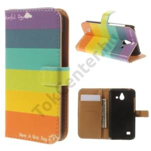 Huawei Ascend Y550 Tok álló, bőr (FLIP, mágneses, oldalra nyíló, bankkártya  tartó, asztali tartó funkció, csíkos) SZÍNES