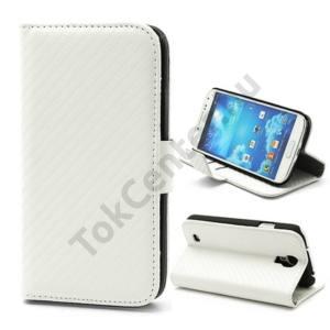 Samsung Galaxy S IV. (GT-I9500) Tok álló, bőr(FLIP, asztali tartó funkció, mágneses, oldalra nyíló, bankkártya tartó, karbon minta) FEHÉR