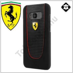 SAMSUNG Galaxy S8 Plus (SM-G955) Ferrari műanyag telefonvédő (gumírozott, karbon minta) FEKETE