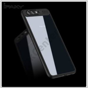 HUAWEI Honor 9 IPAKY telefonvédő szilikon keret (BUMPER, akril hátlap) FEKETE