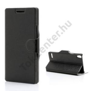 Huawei Ascend P6 (P6-U06) Tok álló, bőr (FLIP, mágneses, oldalra nyíló, asztali tartó funkció) FEKETE