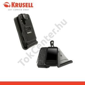 Nokia C6-00 KRUSELL ORBIT FLEX álló bőrtok (övcsipesz) FEKETE/SZÜRKE