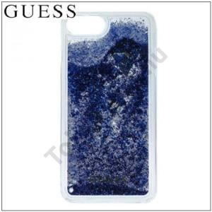 APPLE IPhone 6 6S 7 GUESS műanyag telefonvédő (csillogó, flitteres folyadék hátlap) KÉK