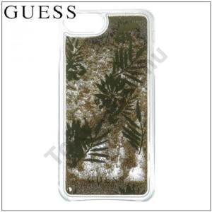 APPLE IPhone 6 6S 7 GUESS műanyag telefonvédő (csillogó, flitteres folyadék hátlap, növény minta) ARANY