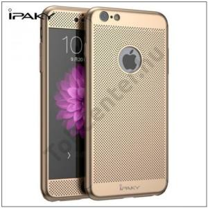 APPLE IPhone 6 Plus /6S Plus IPAKY műanyag telefonvédő (előlap védelem, lyukacsos minta, edzett üveg fólia, logo kivágás) ARANY