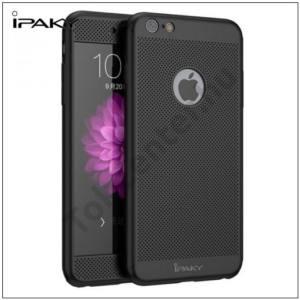 APPLE IPhone 6 Plus / 6S Plus IPAKY műanyag telefonvédő (előlap védelem, lyukacsos minta, edzett üveg fólia, logo kivágás) FEKETE