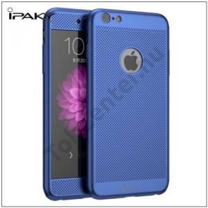 APPLE IPhone 6 Plus / 6S Plus IPAKY műanyag telefonvédő (előlap védelem, lyukacsos minta, edzett üveg fólia, logo kivágás) KÉK