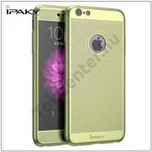 APPLE IPhone 6 Plus / 6S Plus IPAKY műanyag telefonvédő (előlap védelem, lyukacsos minta, edzett üveg fólia, logo kivágás) ZÖLD