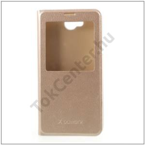 LG X Power 2 Tok álló, bőr (FLIP, oldalra nyíló, S-View Cover) ARANY