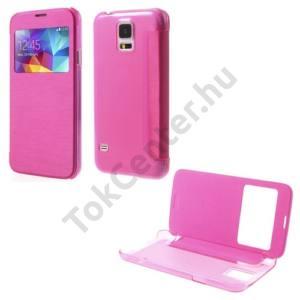 Samsung Galaxy S V. (SM-G900) Műanyag telefonvédő (FLIP, átlátszó hátlap, oldalra nyíló, S-View Cover) RÓZSASZÍN