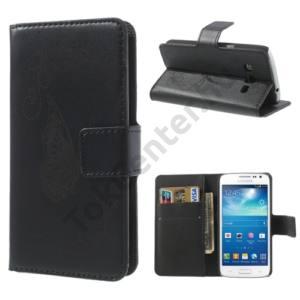 Samsung Galaxy Express 2 (SM-G3815) Tok álló, bőr (FLIP, mágneses, oldalra nyíló, asztali tartó funkció, gravírozott, pillangó minta) FEKETE