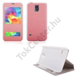 Samsung Galaxy S V. (SM-G900) Tok álló, bőr (FLIP, oldalra nyíló, asztali tartó funkció, hívószámkijelzés) RÓZSASZÍN