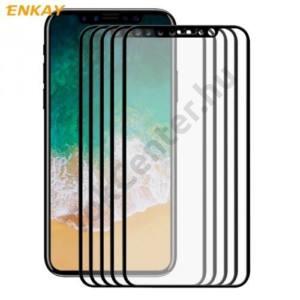 APPLE IPhone X 5,8`` ENKAY képernyővédő fólia (5 db, 3D full cover, íves,ultravékony előlap, edzett üveg, karcálló, 9H, 0.26mm vékony) FEKETE