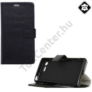 SONY Xperia XZ1 Compact Tok álló, valódi bőr (FLIP, mágneses, oldalra nyíló, asztali tartó funkció) FEKETE