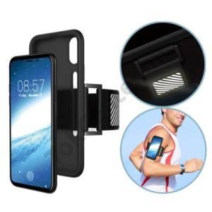 APPLE IPhone X 5,8`` Telefonvédő gumi / szilikon (karra rögzíthető, sportoláshoz, fényvisszaverő csík) FEKETE