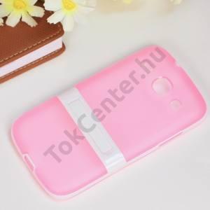 Samsung Galaxy Core (GT-I8260) Műanyag telefonvédő (gumi / szilikon betét, kitámasztó) RÓZSASZÍN/FEHÉR
