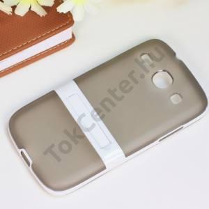 Samsung Galaxy Core (GT-I8260) Műanyag telefonvédő (gumi / szilikon betét, kitámasztó) SZÜRKE/FEHÉR