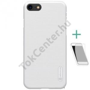 APPLE IPhone 8 4,7`` NILLKIN SUPER FROSTED műanyag telefonvédő (gumírozott, érdes felület, képernyővédő fólia, tisztítókendő) FEHÉR
