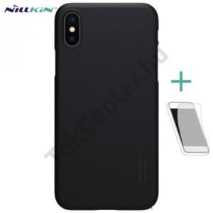 APPLE IPhone X 5,8`` NILLKIN SUPER FROSTED műanyag telefonvédő (gumírozott, érdes felület, képernyővédő fólia, tisztítókendő) FEKETE
