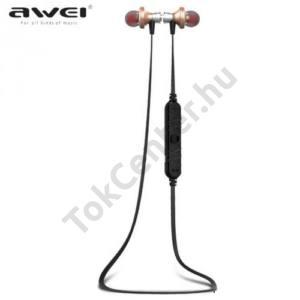 AWEI BLUETOOTH james bond SZTEREO (nyakba akasztható, mágneses, mikrofon, zajszűrő, 3 pár fülgumi, SPORT) ARANY
