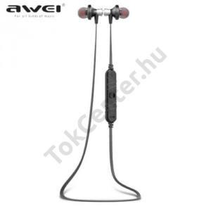 AWEI BLUETOOTH james bond SZTEREO (nyakba akasztható, mágneses, mikrofon, zajszűrő, 3 pár fülgumi, SPORT) FEKETE