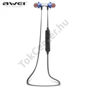 AWEI BLUETOOTH james bond SZTEREO (nyakba akasztható, mágneses, mikrofon, zajszűrő, 3 pár fülgumi, SPORT) KÉK