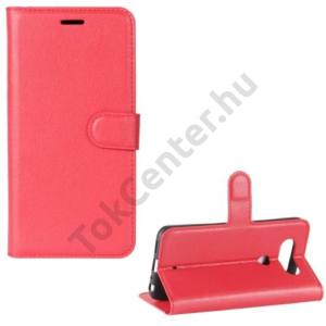 LG Q8 (H970) Tok álló, bőr (FLIP, mágneses, oldalra nyíló, asztali tartó funkció) PIROS