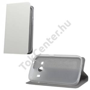 Samsung Galaxy Ace 4 LTE (SM-G357FZ) Tok álló, bőr (FLIP, oldalra nyíló, asztali tartó funkció, szilikon tartó) FEHÉR