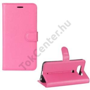 LG Q8 (H970) Tok álló, bőr (FLIP, mágneses, oldalra nyíló, asztali tartó funkció) RÓZSASZÍN