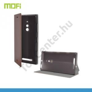 Nokia Lumia 830 MOFI RUI tok álló, bőr (FLIP, oldalra nyíló, asztali tartó funkció, szilikon tartó) BARNA