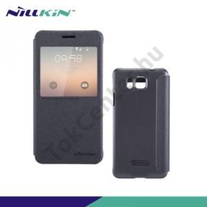 Samsung Galaxy Alpha (SM-G850) NILLKIN SPARKLE műanyag telefonvédő (mikroszálas bőr flip, oldalra nyíló, hívószámkijelzés, S-View Cover) FEKETE