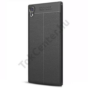 SONY Xperia XZ1 Compact Telefonvédő gumi / szilikon (bőr hátlap, varrás minta) FEKETE