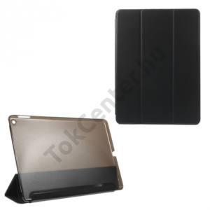 Apple IPAD Air 2 Műanyag telefonvédő (FLIP, átlátszó hátlap, oldalra nyíló, TRIFOLD asztali tartó funkció) FEKETE