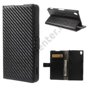 Sony Xperia Z3 (D6653) Tok álló, bőr (FLIP, mágneses, oldalra nyíló, bankkártya tartó, asztali tartó funkció, karbon minta) FEKETE