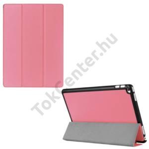 APPLE IPAD Pro 12.9 Műanyag telefonvédő (FLIP, bőrhátlap, oldalra nyíló, TRIFOLD asztali tartó funkció) RÓZSASZÍN