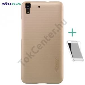 Huawei Y6 NILLKIN SUPER FROSTED műanyag telefonvédő (gumírozott, érdes felület, képernyővédő fólia) ARANY