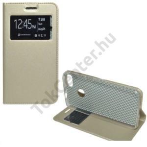 HUAWEI P9 lite mini Tok álló, bőr (FLIP, mágneses, oldalra nyíló, asztali tartó funkció, View Window) ARANY