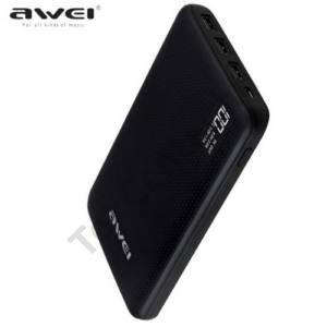 AWEI hordozható vésztöltő (belső 30000mAh Li-Ion akku, 3 USB aljzat, LED kijelző, 17mm vékony,kábel nélkül) FEKETE